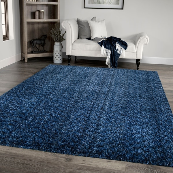 """Palmetto Living Cotton Tail Buttery-Soft Solid Royal Area Rug - 6'7"""" x 9'6"""""""