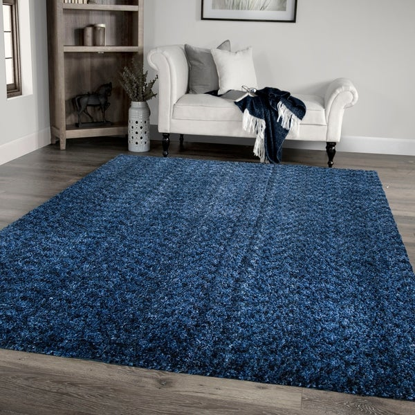 """Palmetto Living Cotton Tail Buttery-Soft Solid Royal Area Rug - 7'10"""" x 10'10"""""""