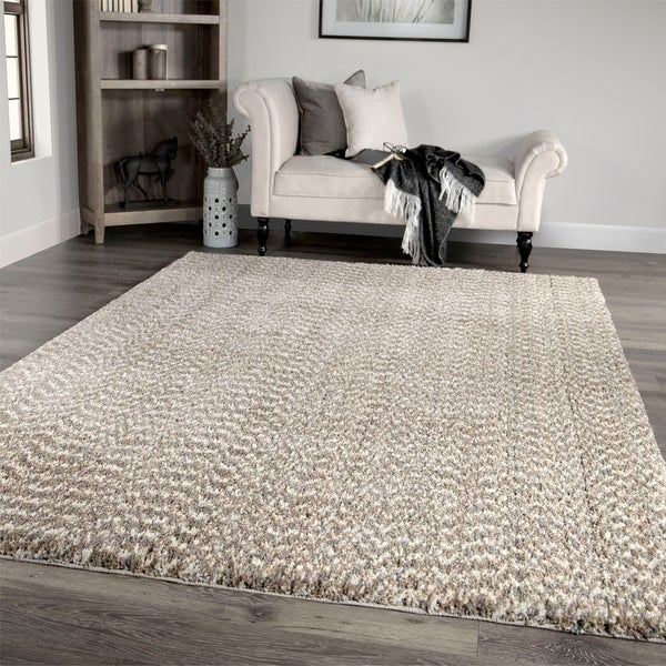 """Palmetto Living Cotton Tail Buttery-Soft Solid Beige Area Rug - 5'3"""" x 7'6"""""""