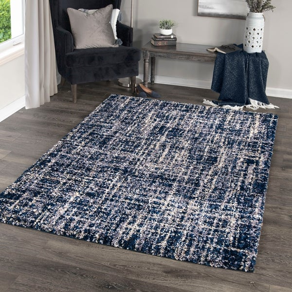 "Palmetto Living Jennifer Adams Cotton Tail Cross Thatch Navy Area Rug - 6'7"" x 9'6"""