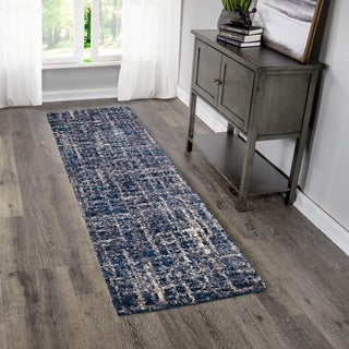 "Palmetto Living Jennifer Adams Cotton Tail Cross Thatch Navy Runner - 2'3"" x 8'"