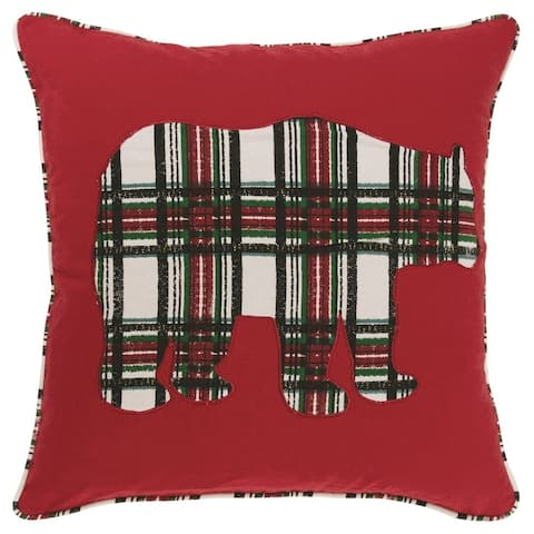 "Rizzy Home 18""x18"" Red Plaid Bear polyester filled pillow"
