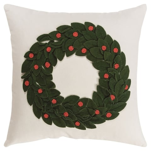 Rizzy Home Dark Green Wreath Polyester Filled Pillow