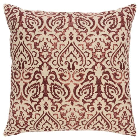 """Rizzy Home 22""""X22"""" Marsala Damask Polyester Filled Pillow"""