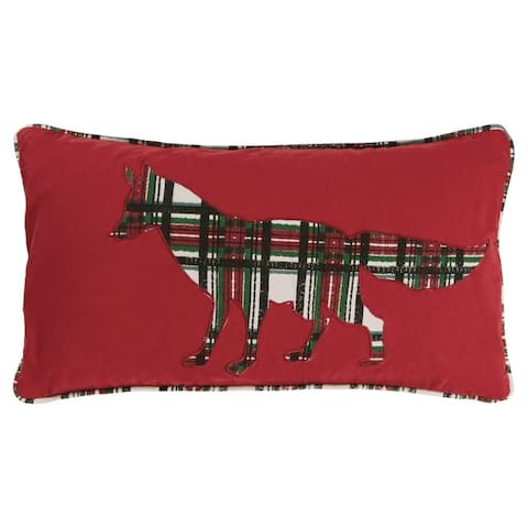 Rizzy Home Red Plaid Fox polyester filled pillow