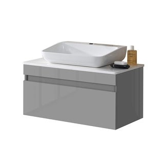 Trani Wall Mount Floating Bathroom Vanity with Quartz Countertop & Solid Surface/Stone Resin Vessel Sink