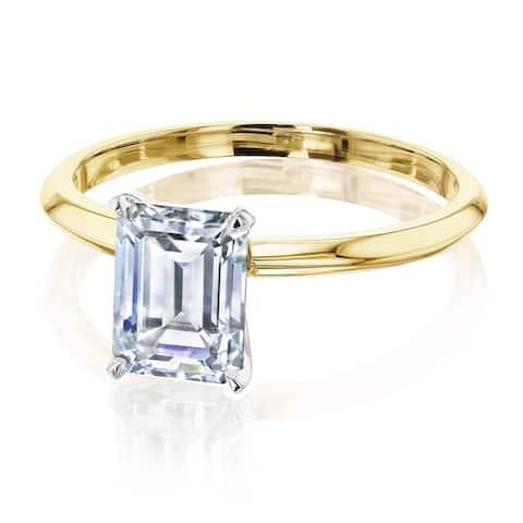 Annello by Kobelli 14k Gold 1.75 Carat Emerald Moissanite Solitaire Engagement Ring (HI/VS)