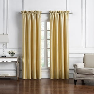 "Marquis By Waterford Russell Square Gold Curtain Panel Pair - 50""x84"""