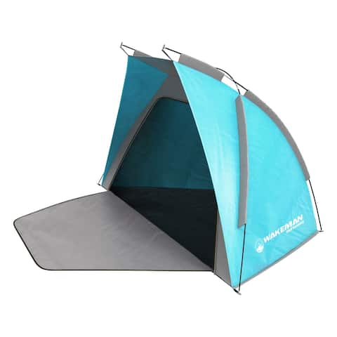 Water Resistant Beach Tent with Extended Floor Mat by Wakeman Outdoors - 107 x 43 x 58
