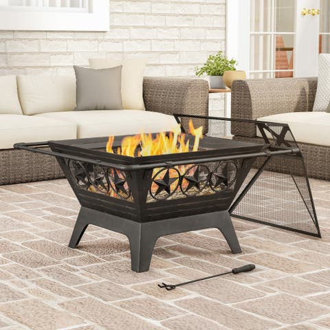 "32"" Wood Burning Outdoor Fire Pit with Star Design by Pure Garden - 32 x 32 x 27"