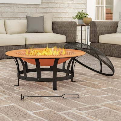 """30"""" Wood Burning Outdoor Fire Pit by Pure Garden - 30 x 30 x 20"""