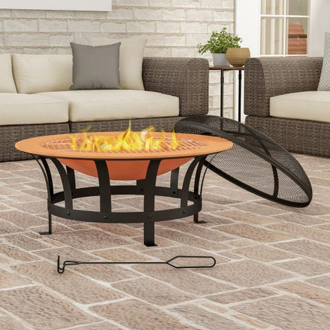 "30"" Wood Burning Outdoor Fire Pit by Pure Garden - 30 x 30 x 20"