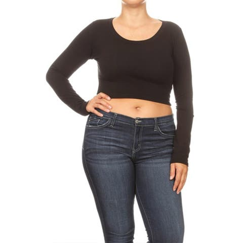 Basic Solid Casual Long Sleeve Plus Size Cropped Tube Tunic Tee Top