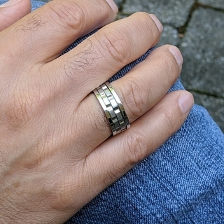 Link to 8 MM Wide Men's Spinner Ring with High polish Edges and Brushed Center in Rhodium Plated Stainless Steel Similar Items in Rings
