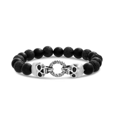 Beaded Lava Men's Bracelet with Circle Clasp and Skull Beads