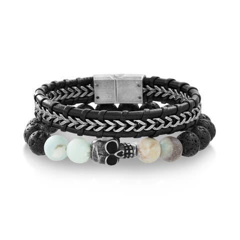 Oxidized Steel Two Tone Skull Head on Lava and Amazonite Bead Bracelet and Black Leather Men's Bracelet (Two Bracelet Set)