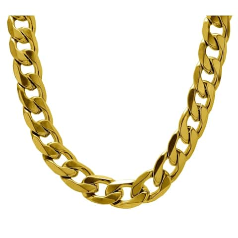 9 mm Curb Cuban Chain Link Necklace for Men Boys Heavy 316L Stainless Steel Silver Gold Color 24 Inch