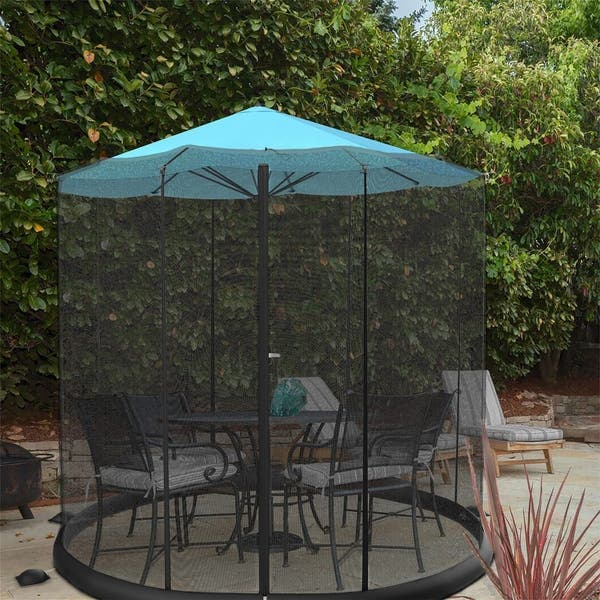 Patio Umbrella Mosquito Netting Black Fits 9FT Umbrellas and Patio Tables Polyester Mesh Screen with Zipper Opening and Water Tube at Base to Hold in Place Helps Protect from Mosquitoes