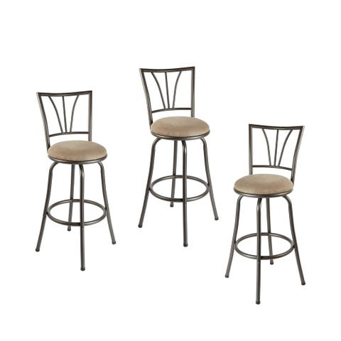 Set of 3 Stetson Adjustable Swivel Metal Bar Stools
