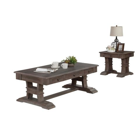 Best Quality Furniture 2-Piece Rustic Coffee Table Set
