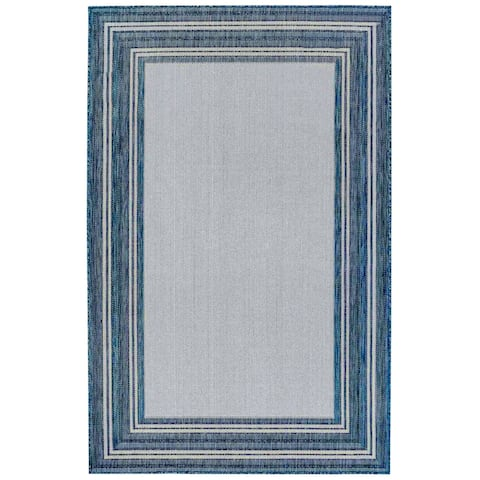 "Liora Manne Carmel Multi Border Indoor/Outdoor Rug Navy 8'10""X11'9"""