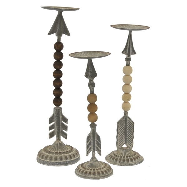 Metal Table Top Decor Set of 3 in Gray Metal 5in L x 5in W x 15in H