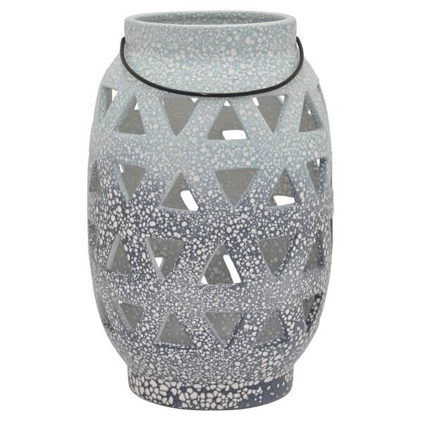 Ceramic Pierced Vase in Blue Porcelain-Ceramic 8in L x 8in W x 12in H