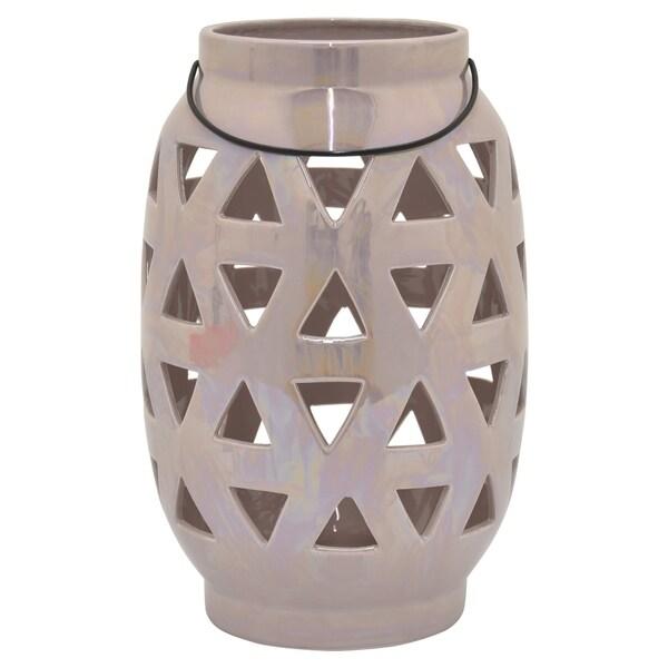 Ceramic Pierced Vase in Pink Porcelain-Ceramic 8in L x 8in W x 12in H