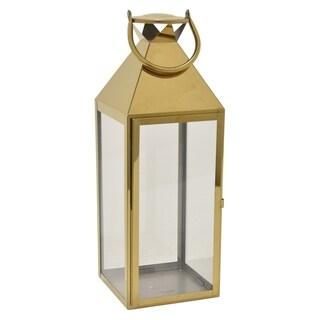 Metal Decorative  Lantern in Gold Metal 7in L x 7in W x 21in H