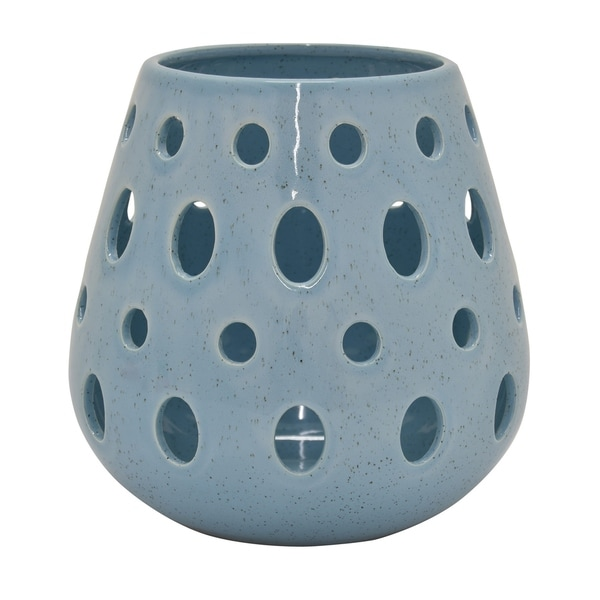 Ceramic Pierced Vase in Blue Porcelain-Ceramic 8in L x 8in W x 8in H