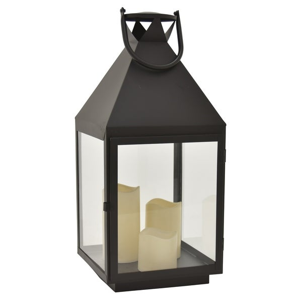 Metal Lantern W/led Candles in Black Metal 9in L x 9in W x 21in H