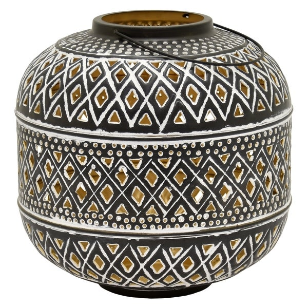Metal Decorative Lantern in Brown Metal 12in L x 12in W x 12in H