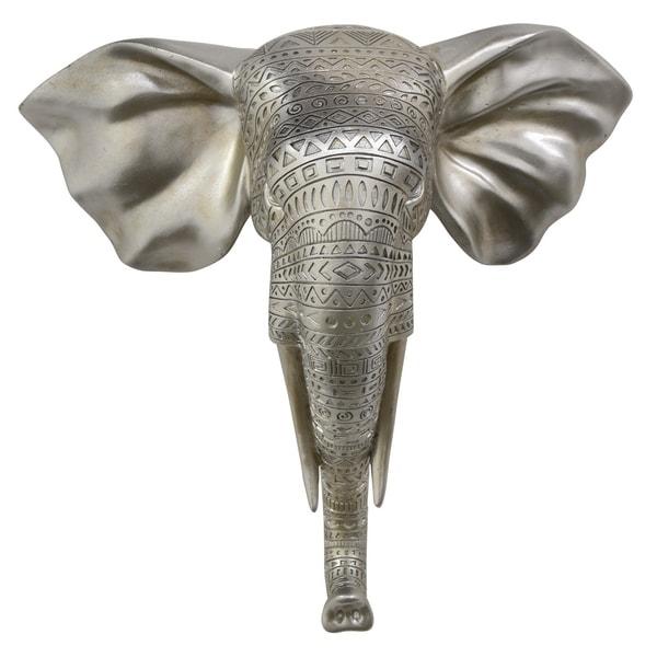 Elephant Head Decor Silver in Silver Resin 12in L x 5in W x 12in H