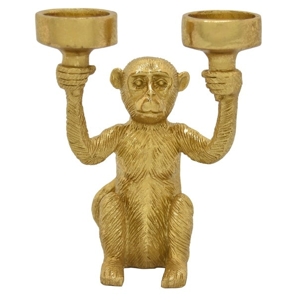 Monkey Tabletop in Gold Resin / Magnesium 6in L x 4in W x 6in H