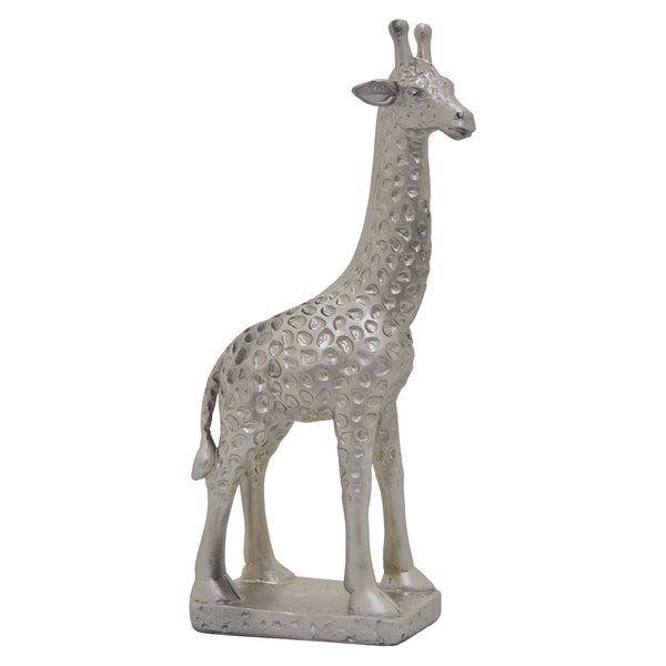 Giraffe On Base Silver in Silver Resin 5in L x 3in W x 12in H