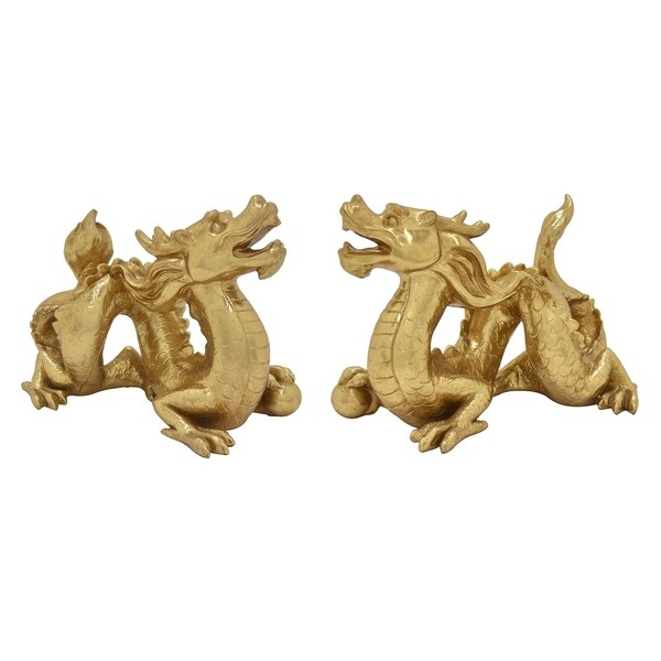 Dragon Set of 2 Table Top in Gold Resin 14in L x 6in W x 10in H