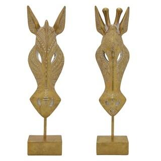 Giraffe Head Set of 2 Gold in Gold Resin 5in L x 3in W x 18in H