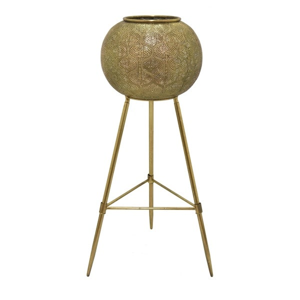 Metal Garden Decoration in Gold Metal 13in L x 13in W x 34in H