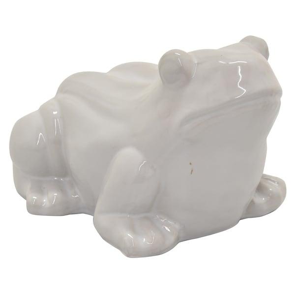 Ceramic Frog in White Porcelain-Ceramic 10in L x 8in W x 6in H