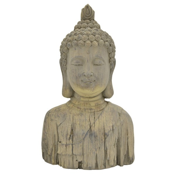 Buddha Head in Gray Resin / Magnesium 10in L x 6in W x 17in H
