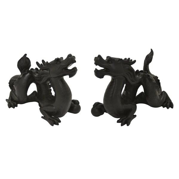 Dragon Set of 2 Table Top in Black Resin 14in L x 6in W x 10in H
