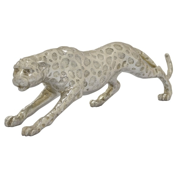 Leopard Decoration in Silver Resin / Magnesium 21in L x 4in W x 5in H