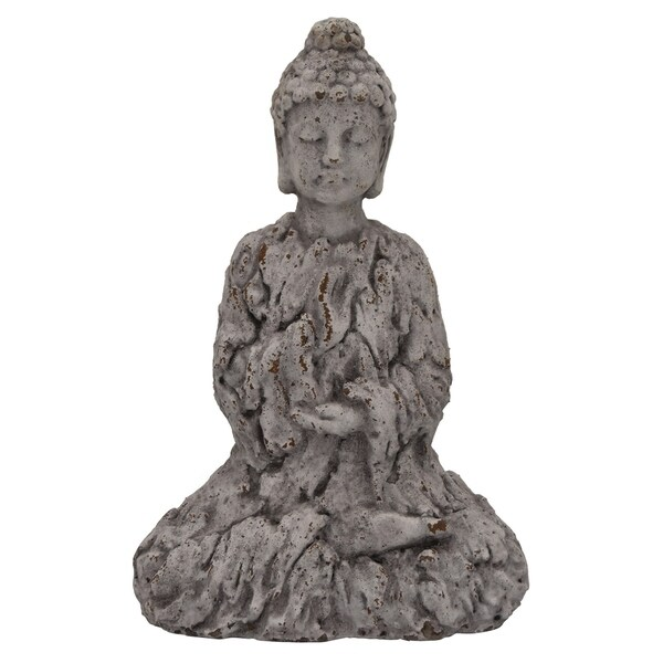 Three Hands Buddha in Gray Resin / Magnesium 11in L x 6in W x 16in H