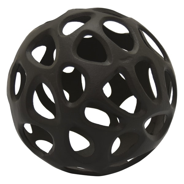 Metal Abstract Orb in Black Metal 13in L x 13in W x 13in H