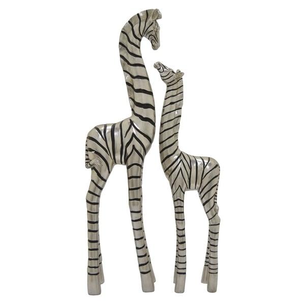 Zebra Set of 2 Decoration in Silver Resin 8in L x 4in W x 29in H