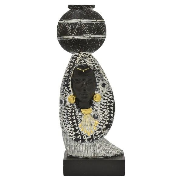 African Figurine Tabletop in Black Resin 6in L x 3in W x 14in H