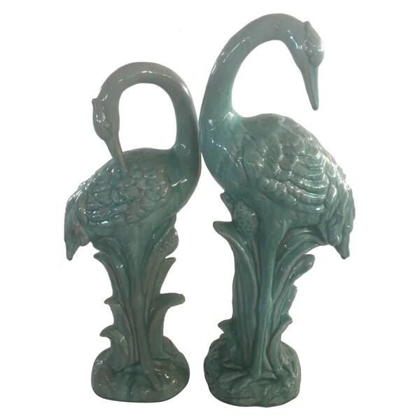 Ceramic Crane-set Of 2 in Blue Porcelain 8in L x 6in W x 23in H