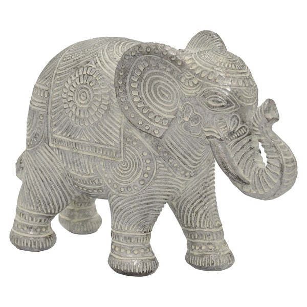 Elephant Figurine in Silver Resin / Magnesium 11in L x 4in W x 8in H