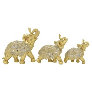 Elephant  Set of 3 Tabletop in Gold Resin 10in L x 4in W x 9in H
