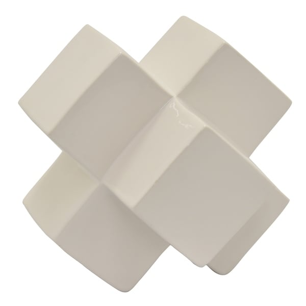 Ceramic Geometric Tabletop in White Porcelain 7in L x 7in W x 7in H